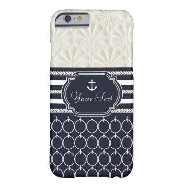 Nautical Navy & White Elegant Beach Theme Summer Barely There iPhone 6 Case