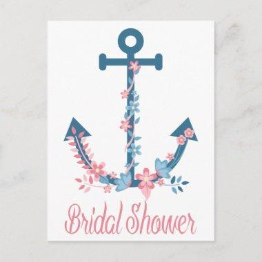 Nautical Pink & Blue Bridal Shower Anchor Floral Invitation PostInvitations