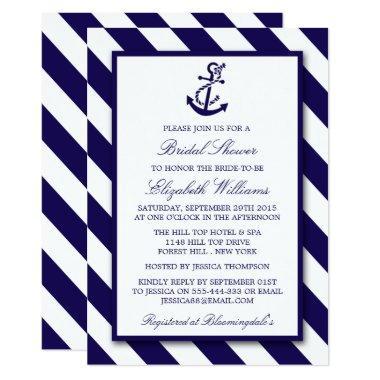 Nautical Stripes & Navy Blue Anchor