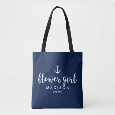Nautical Wedding White Anchor Custom Flower Girl Tote Bag