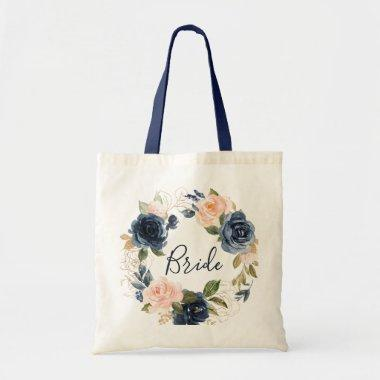 Navy and blush floral bride tote bag
