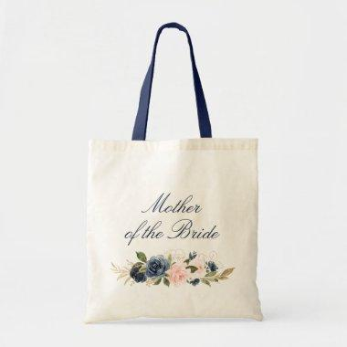 Navy and blush floral Mother of the Bride Tote Bag