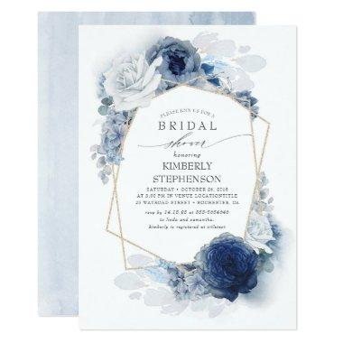 Navy and Dusty Blue Floral Modern Bridal Shower Invitations