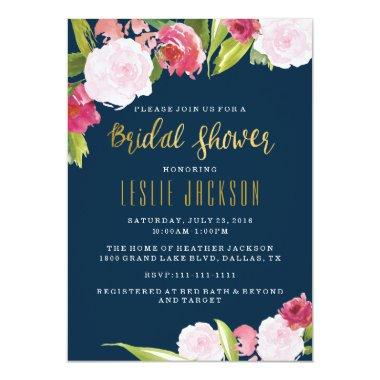 Navy and Gold Bridal Shower Invitations