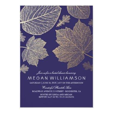 Navy and Gold Leaves Fall Bridal Shower Invitations
