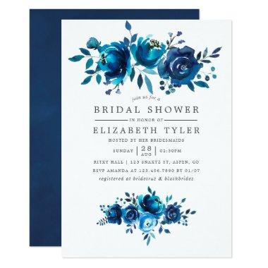 Navy and White Watercolor Floral Bridal Shower Invitations