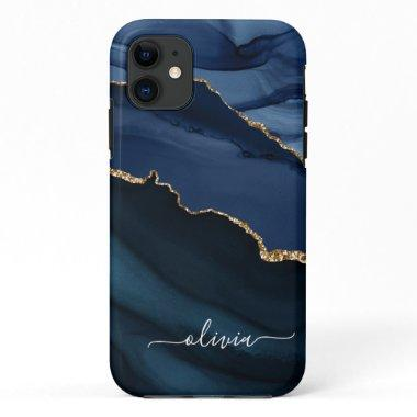 Navy Blue Agate Geode Gold Monogram iPhone 11 Case