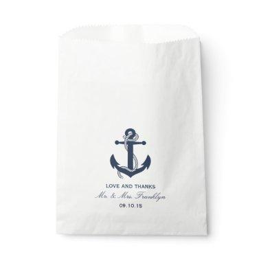 Navy Blue Anchor Nautical Beach Wedding Favor Bag