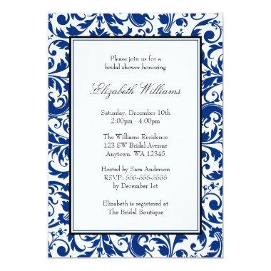 Navy Blue and Black Swirl Damask