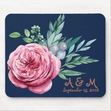 Navy blue and coral wedding monogram mouse pad