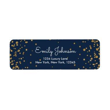 Navy Blue and Gold Foil Confetti Birthday Label