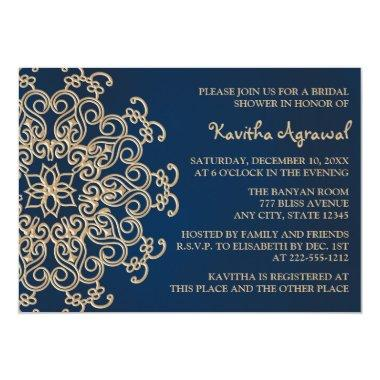 Navy Blue and Gold Indian Style