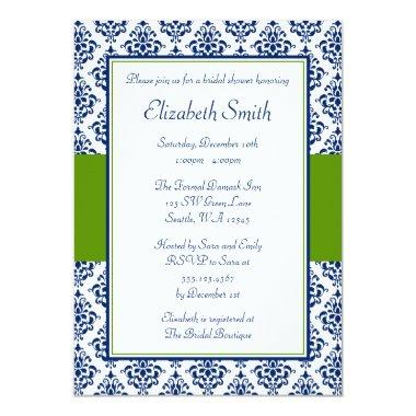 Navy Blue and Green Damask