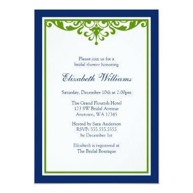 Navy Blue and Green Flourish Bridal Shower Invitations