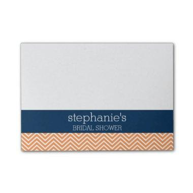 Navy Blue and Orange Chevron Pattern Bridal Shower Post-it Notes