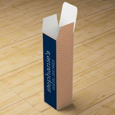 Navy Blue and Orange Chevron Pattern  Wine Box