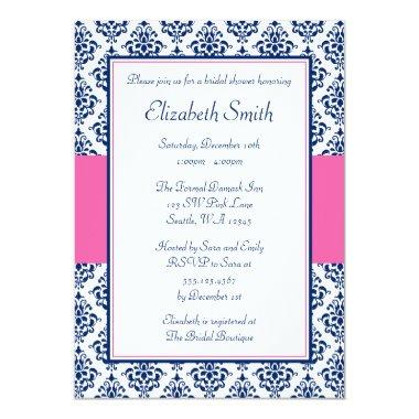 Navy Blue and Pink Damask