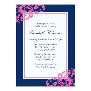 Navy Blue and Pink Flourish Swirls