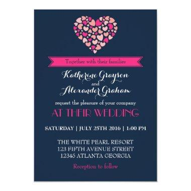 Navy Blue and Pink Love Heart Wedding Invitations