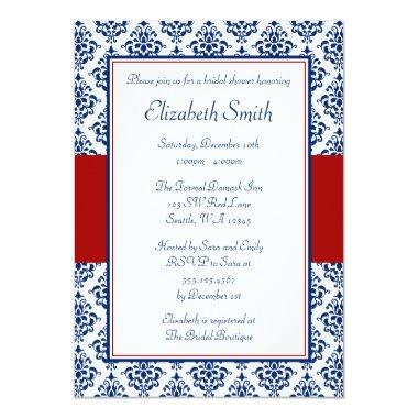 Navy Blue and Red Damask