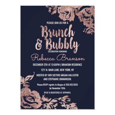 Navy Blue and Rose Gold Floral Brunch and Bubbly Invitations
