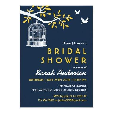 Navy Blue and Yellow Bird Cage on Tree Invitations