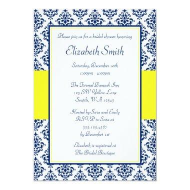 Navy Blue and Yellow Damask