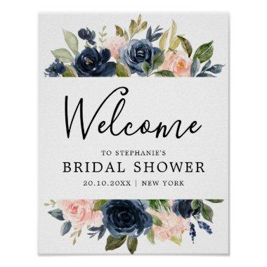 Navy Blue Blush Pink Rose Bridal Shower Welcome Poster