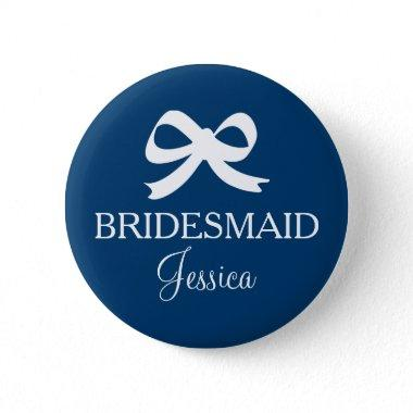 Navy blue bridesmaid name button badge for wedding