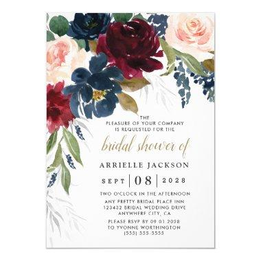 Navy Blue Burgundy Blush Pink Floral Bridal Shower Invitations