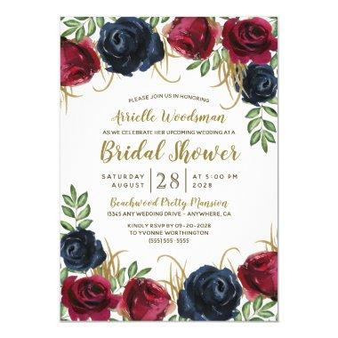 Navy Blue Burgundy Fall Bridal Shower Invitations