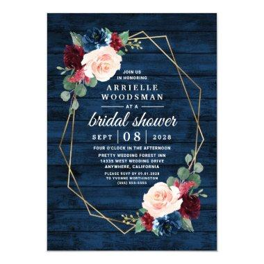 Navy Blue Burgundy Gold Blush Pink Bridal Shower Invitations