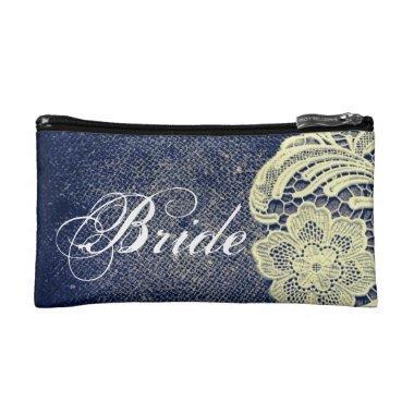 navy blue burlap lace rustic vintage bride makeup bag