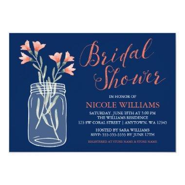 Navy Blue Coral Flowers Mason Jar