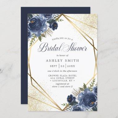 Navy Blue Floral Gold Geometric Bridal Shower Invitations