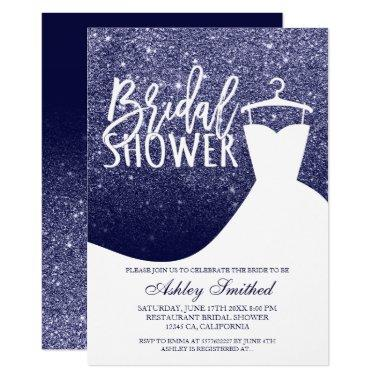Navy blue glitter elegant chic dress Bridal shower Invitations