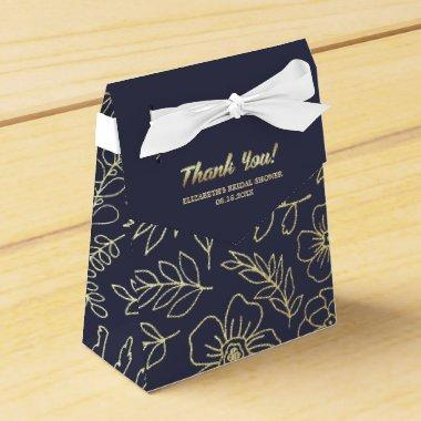 Navy Blue | Gold Floral  Favor Boxes