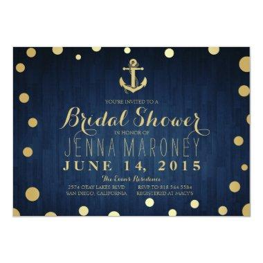 Navy Blue Gold Foil Anchor Nautical Bridal Shower Invitations