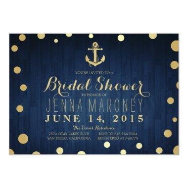 Navy Blue Gold Foil Anchor Nautical