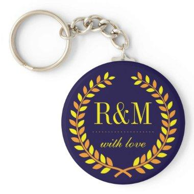 Navy Blue Laurel Wreath Monogram Wedding Keychain