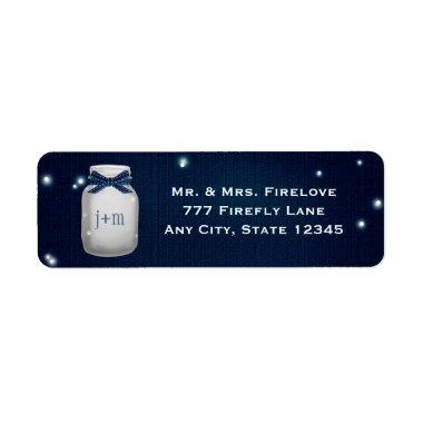 Navy Blue Mason Jar with Fireflies Return Address Label