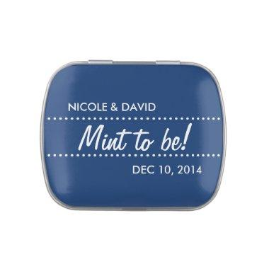 Navy blue mint to be wedding celebration favor jelly belly candy tin