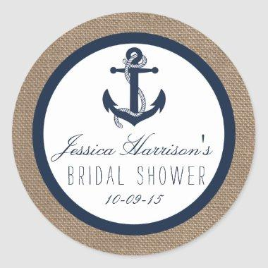 Navy Blue Nautical Anchor  Stickers