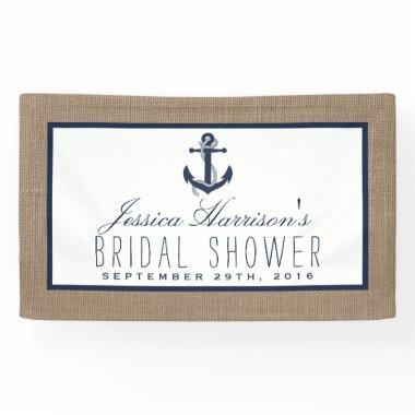 Navy Blue Nautical Anchor On Burlap  Banner