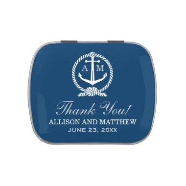 Navy Blue Nautical Anchor Wedding Monogram Jelly Belly Candy Tin