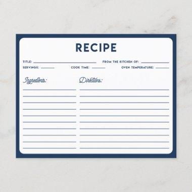 Navy Blue Nautical Modern Typography Recipe