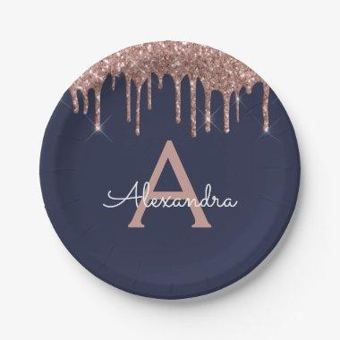 Navy Blue Pink Rose Gold Glitter Monogram Birthday Paper Plate