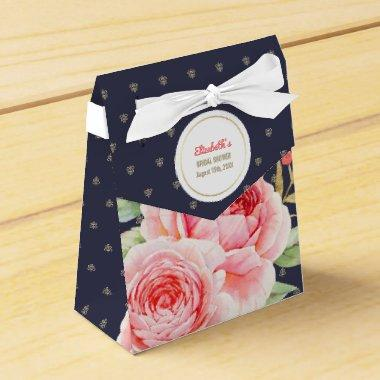 Navy Blue Romantic Floral  Favor Boxe Favor Box