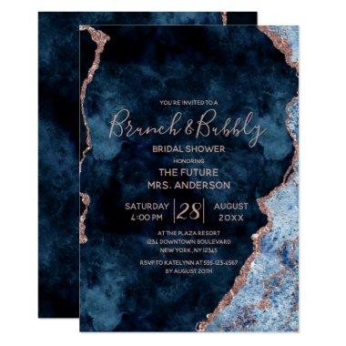 Navy Blue Rose Gold Brunch & Bubbly