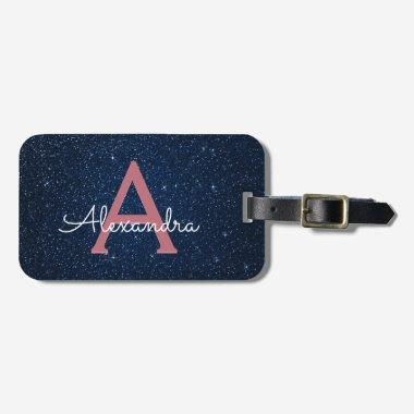 Navy Blue & Rose Gold Sparkle Glitter Monogram Bag Tag